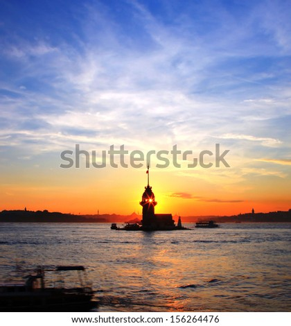 Evening view of Maiden's Tower in Istanbul - stock photo