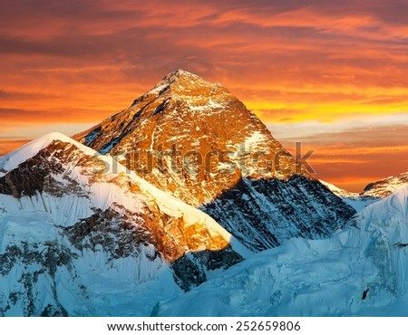 Evening view of Mount Everest from Kala Patthar with beautiful clouds- way to Everest base camp - Nepal - stock photo