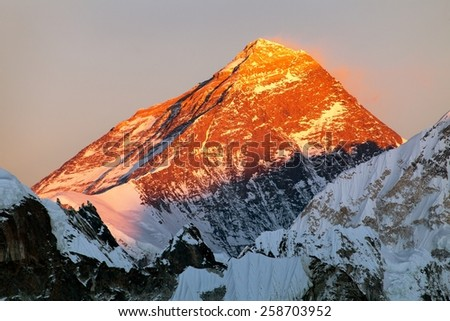 Evening view of Mount Everest - way to Everest base camp - Nepal - stock photo