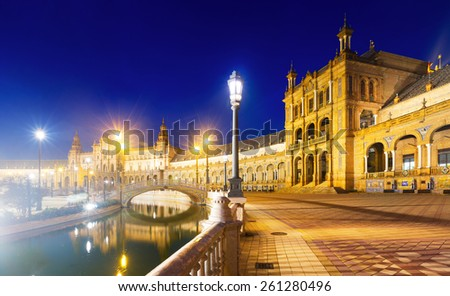 Evening  view of Plaza de Espana with river. Seville, Spain - stock photo
