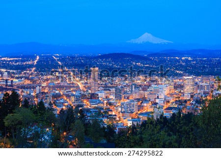 Evening View of Portland, Oregon from Pittock Mansion. - stock photo