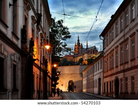 Evening view of Prague Castle from street of Mala Strana - stock photo