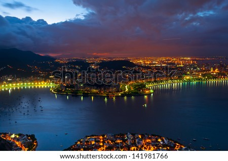 Evening view of Rio de Janeiro from the Sugarloaf Mountain. - stock photo