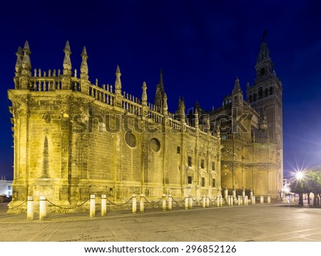 Evening view of  Seville Cathedral. Spain  - stock photo
