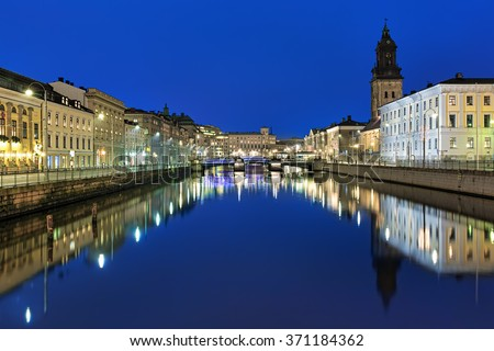 Evening view of the Big Harbor Canal and German Church (also called Christinae Church) in Gothenburg, Sweden - stock photo