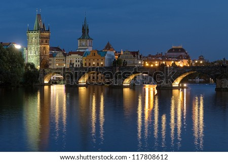 Evening view of the Charles Bridge in Prague, Czech Republic