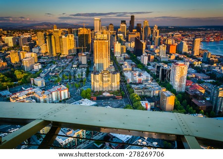 Evening view of the downtown Seattle skyline, in Seattle, Washington.