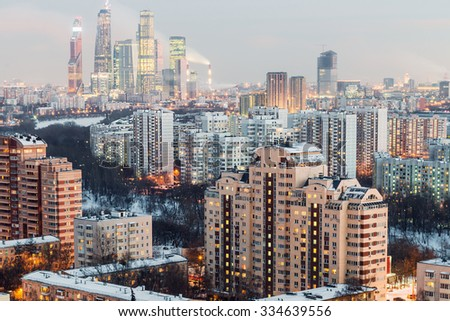 evening view of the residential and financial development of the Moscow winter - stock photo