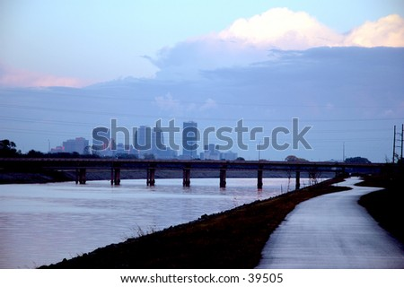 Evening view of the riverwalk and downtown Oklahoma City - stock photo