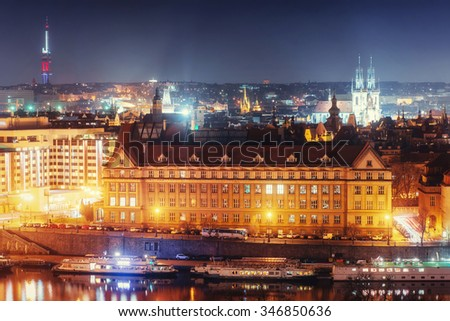 Evening View of The Vltava River and Bridges in Prague , Czech republic