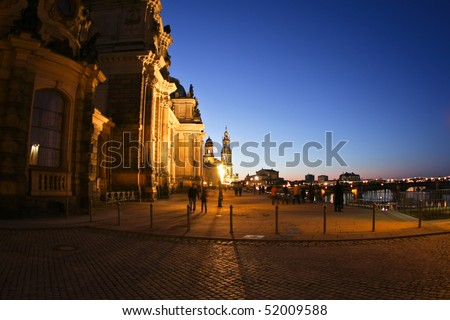 Evening view on historical center of Dresden, Germany - stock photo