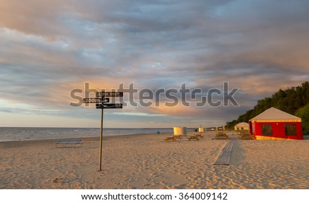 Evening view on the golden sandy beach of Jurmala â?? famous Baltic resort and recreation city, Latvia, Europe