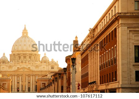 Evening view on the Vatican in Rome, Italy. - stock photo