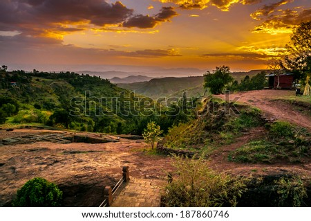 Evening view with Church of St. George in Lalibela, Ethiopia . - stock photo