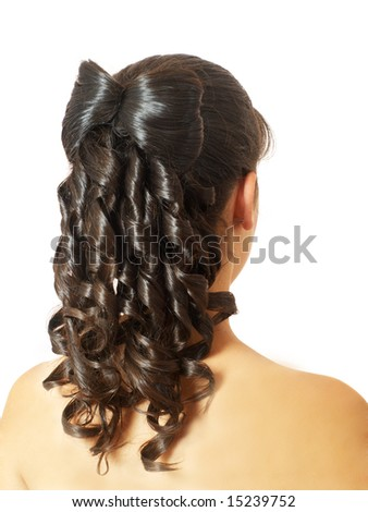 evening woman coiffure, back view