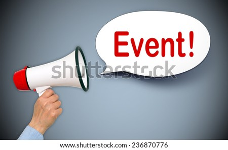 Event - Megaphone with female hand and speech bubble - stock photo