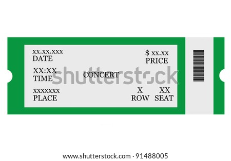 Event ticket, isolated, made with Photoshop - stock photo