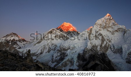 Everest at sunset from Kala Pattar - stock photo