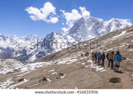Everest Base Camp Trekking: random Trekkers walked to their final destination.