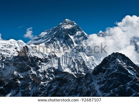 Everest Mountain Peak - the top of the world (8848 m) - stock photo