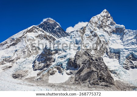 Everest, Nuptse and Lhotse landscape, Himalaya, Nepal