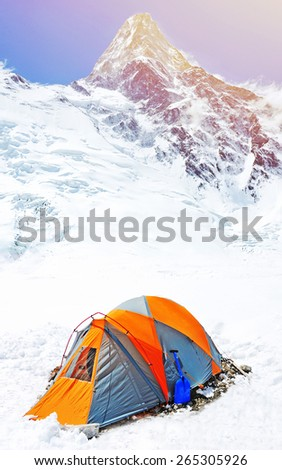 Everest. Tent in base camp - stock photo