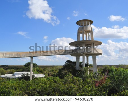Everglades National Park spiral ramp way and platform of the Shark Valley observation tower