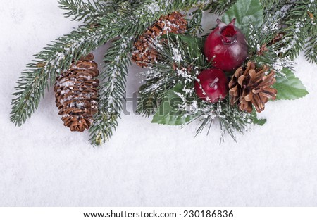 Evergreen tree branch with pine cones and Christmas ornament on snowy white background - stock photo