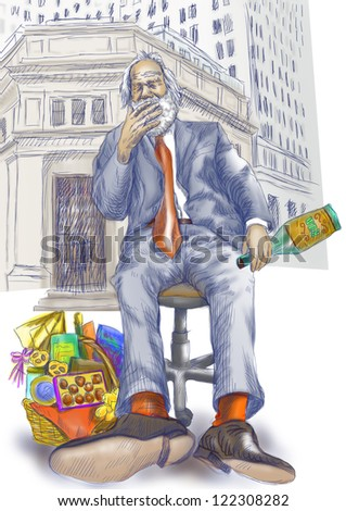 Every day is good to celebrate - even on the stock markets on Wall Street - an old man, a businessman with a bottle of rum and a cigar in his mouth. / Hand drawing, color version isolated on white. - stock photo