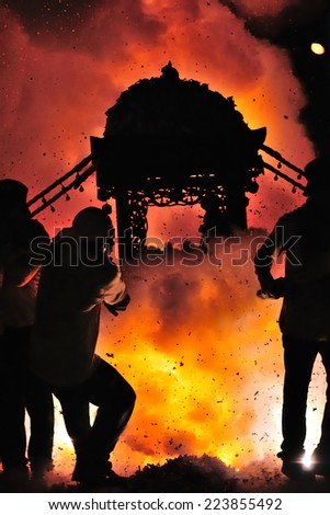 Every year since March 19 and 20th, Taiwan beigang chaotian Palace Grand processions, Tiger Jiao ritual is the most exciting palanquin fried stimulation - stock photo