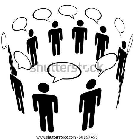 Everybody talks to everyone in a Social Media Network Ring Group speech bubble Talk. - stock photo
