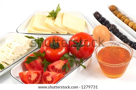 everything for a healty breakfast, on white - stock photo