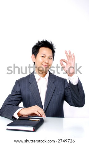 Everything is fine - Man showing OK hand sign - stock photo