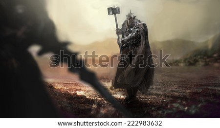 evi knight versus good knight - stock photo