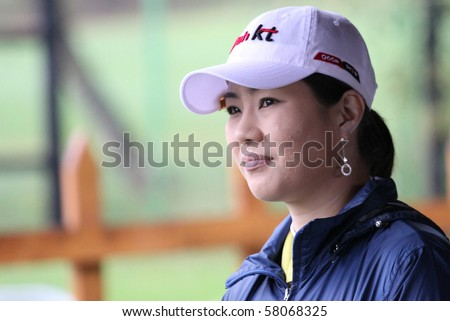 EVIAN, FRANCE - JULY 23 : Meena Lee  (KOR) at Ladies Evian Masters, june 23, 2010, at Evian golf course, France.