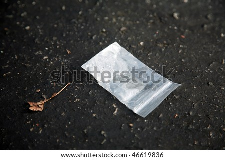 "evidence of drug abuse, a small empty baggie on the ground, probably contained Methamphetamine aka speed or crack aka ""rock cocaine"""