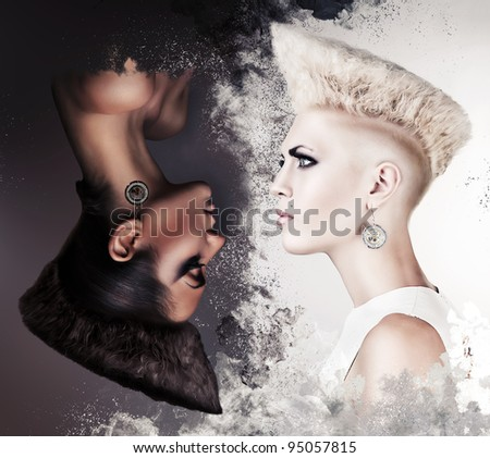 evil and good beautiful women - stock photo