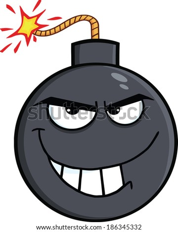 Evil Bomb Cartoon Character. Raster Illustration Isolated on white - stock photo