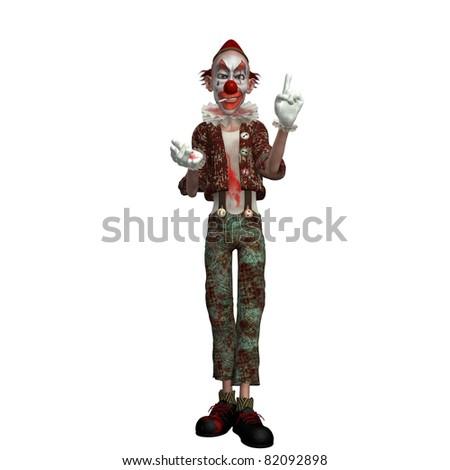 evil cartoon clown - stock photo