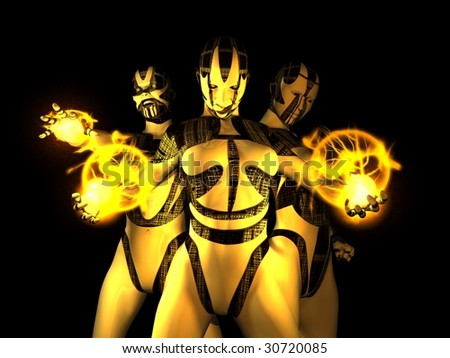 evil female cyborgs - stock photo