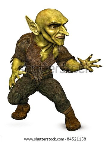 Evil green Goblin demon attacking or casting a spell. three-quarter view. Isolated white background. Original cutout clip art  illustration - stock photo
