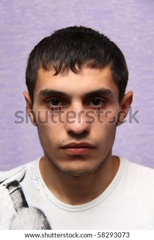 evil guy face - stock photo