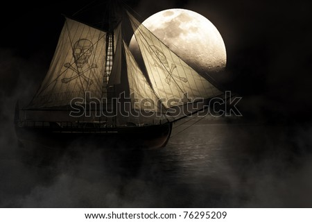 Evil Haunting And Mysterious Image Of A Ghostly Ship With Skull And Crossbones Mast Sailing Through Fog And Mist Under A Full Moon Night Sky - stock photo