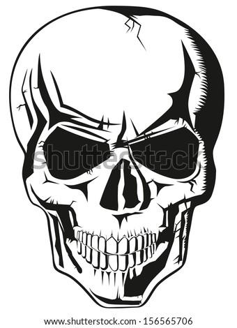 evil human black skull for halloween - stock photo