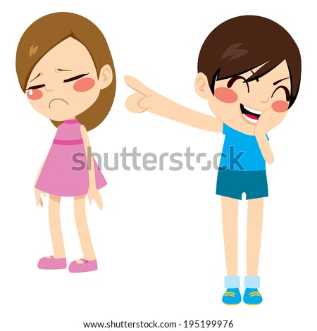 Evil little boy kid bullying poor sad girl pointing finger laughing and mocking - stock photo