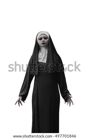 Evil nun expressions isolated over white background