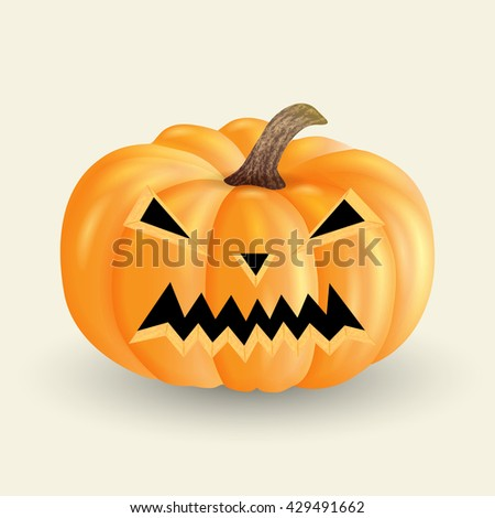 evil pumpkin Halloween isolated on a light background