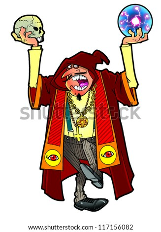 Evil sorcerer casting a spell - stock photo