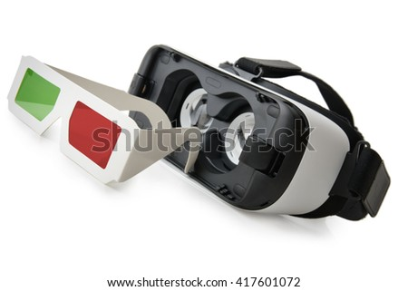evolution of 3d to VR old 3d glasses and new VR glasses isolated on a white background - stock photo