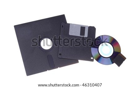 Evolution of electronic data carriers. Isolated object. - stock photo